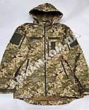 Куртка softshell пиксель ВСУ (ветровлагозащитная). Съёмный капюшон, фото 3
