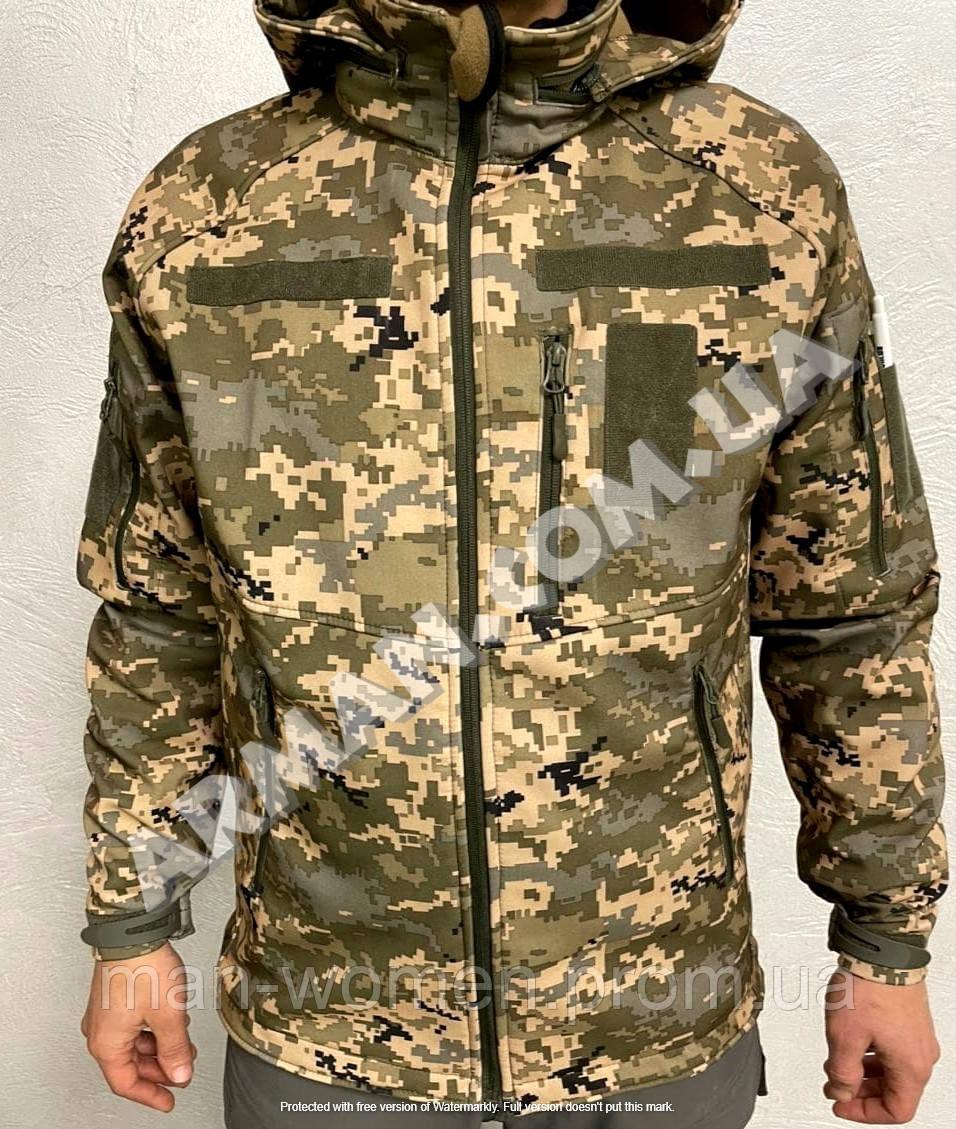 Куртка softshell пиксель ВСУ (ветровлагозащитная). Съёмный капюшон
