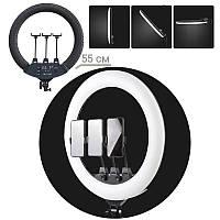 Кольцевая лампа без штатива для визажистов SLP-G63 диаметром 55см с держателем на три телефона+пульт