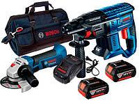 Набор Bosch перфоратор GBH 180-Li  УШМ GWS 18-125 V-LI  з/у AL 1880 CV 2 x акб GBA 18V 5 Ah сумка