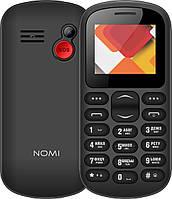Кнопочный телефон бабушкофон черный не дорогой с камерой и кнопкой сос на 2 сим карты Nomi i187 Black 1,77