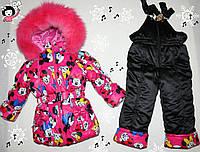 Зимний комбинезон + куртка  4-5,5-6 лет, натуральная опушка песец