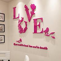 """Акриловая 3D наклейка """"Love"""" красная роза, Интерьерные наклейки"""
