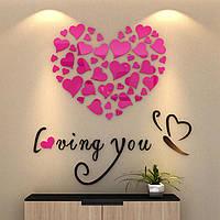 """Акриловая 3D наклейка """"Loving You"""" красная роза 60х60см, Интерьерные наклейки"""