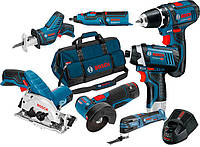 Набор Bosch GSR + GDR + GWS + GRO + GSA + GKS + GOP + з/у GAL 1230 CV + 3 x акб GBA 12V 2 Ah + сумка