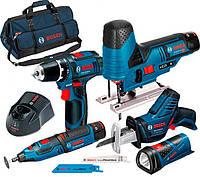 Набор Bosch GSR 12V-15+GST 12V-70+GRO 12V-35+GSA 12V-14+GLI 12V-80+з/у GAL 1230 CV+2 x акб GBA 12V 2 Ah