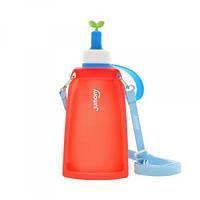 Силиконовая складная бутылка для воды Джумони. Красная, Спорт и отдых