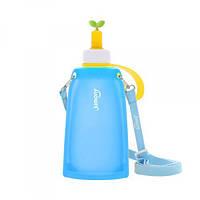 Силиконовая складная бутылка для воды Джумони. Синяя, Спорт и отдых