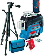 Линейный лазерный нивелир Bosch GLL 3-80 C + штатив BT 150 + приёмник LR 6 + чехол