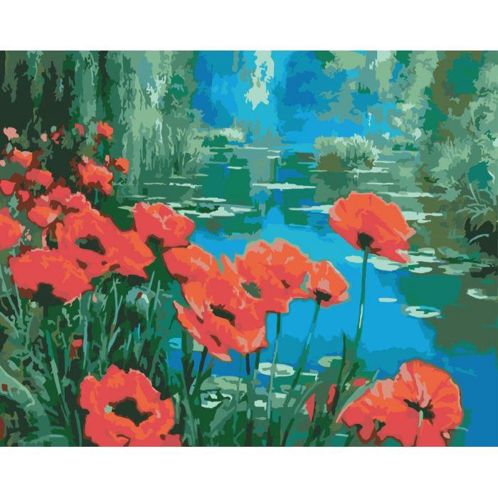 """Картина по номерам Букеты """"Маки возле пруда"""" 40х50см KHO2056"""