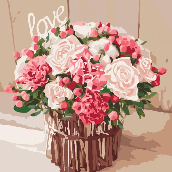"""Картина по номерам Букеты, натюрморты """"Розы любви"""" 40*40см * KHO2074"""