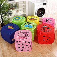 Корзина для игрушек Веселые животные с крышкой на липучке, Детские товары