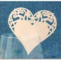 Декор бумажный ажурный для бокалов в форме сердечка (уп 20 шт)