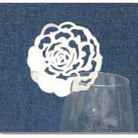 Декор бумажный ажурный для бокалов в форме розочки (уп 20 шт)