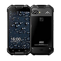 Смартфон протиударний з великим ємним акумулятором і подвійною камерою на 2 sim AGM X2 Black Glass 6/64 гб