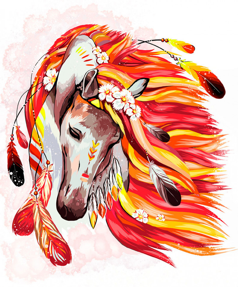 """Картина по номерам """"Огненная лошадь"""" 40*50см укр KpN-01-07U"""