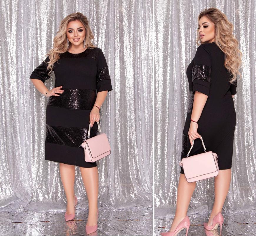 Нарядное платье черного цвета батал Минова Размеры: 50-52, 54-56, 58-60