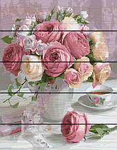 "Картина по номерам на дереве. Rainbow Art ""Нежный букет роз"" GXT22794-RA"