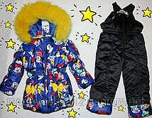 Зимний комбинезон + куртка термохоллофайбер, 2-3,3-4 лет, натуральная опушка песец