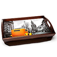 Поднос на подушке с ручками BST 710046 48*33 коричневый Ретро, фото 1