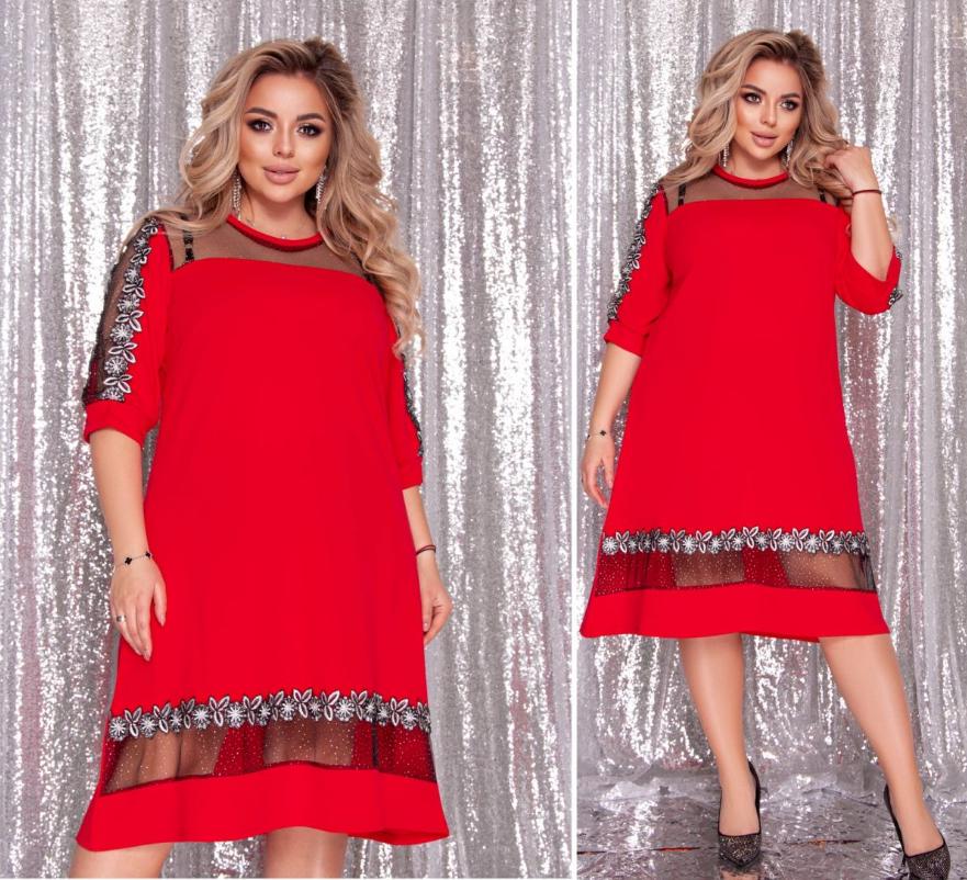 Нарядное платье красного цвета батал Минова Размеры: 50-52, 54-56, 58-60