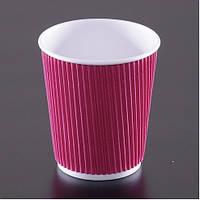 Стакан бумажный рифленый для кофе и чая красный 175 мл 20 шт