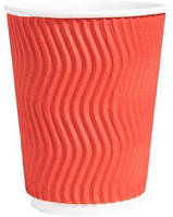 Стакан бумажный рифленый для кофе и чая красный 250 мл 20 шт