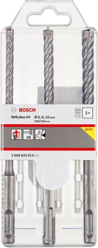 Набор буров Bosch SDS plus-5X 6/8/10 x 160 мм (3 шт)