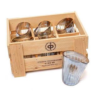 Набор 6 стаканов пьяных граненых оригинальных BST 520008 29х21х14 см. Застолье