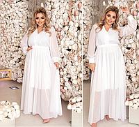 Вечернее платье в пол белого цвета батал Минова Размеры: 50-52, 54-56, 58-60, 62-64