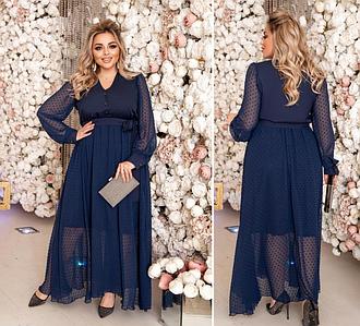 Вечернее платье в пол синего цвета батал Минова Размеры: 50-52, 54-56, 58-60, 62-64