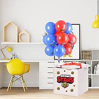 """Коробка-сюрприз велика 70х70см з Гелієвими кульками +наклейки +композиція куль +декор в тематиці """"Бравл Старс"""""""