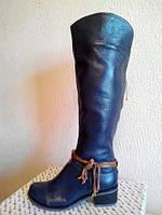 Сапоги синие М-101 зимние из натуральной кожи