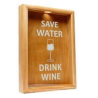 Копилка для винных пробок BST PRK-12 50х35 см. ясень Save Water drink wine большая, фото 1