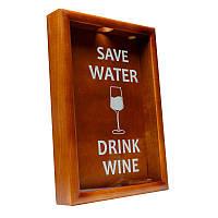 Копилка для винных пробок BST PRK-22 50х35 см. орех Save Water drink wine большая, фото 1