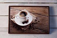 Поднос на подушке BST 46*32 коричневый кофе на салфетке, фото 1