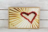 Поднос на подушке BST 46*32 деревянный сердце из спичек, фото 1