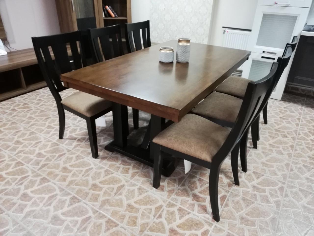 Стол обеденный деревянный Дрезден Sof, цвет орех + черный матовый