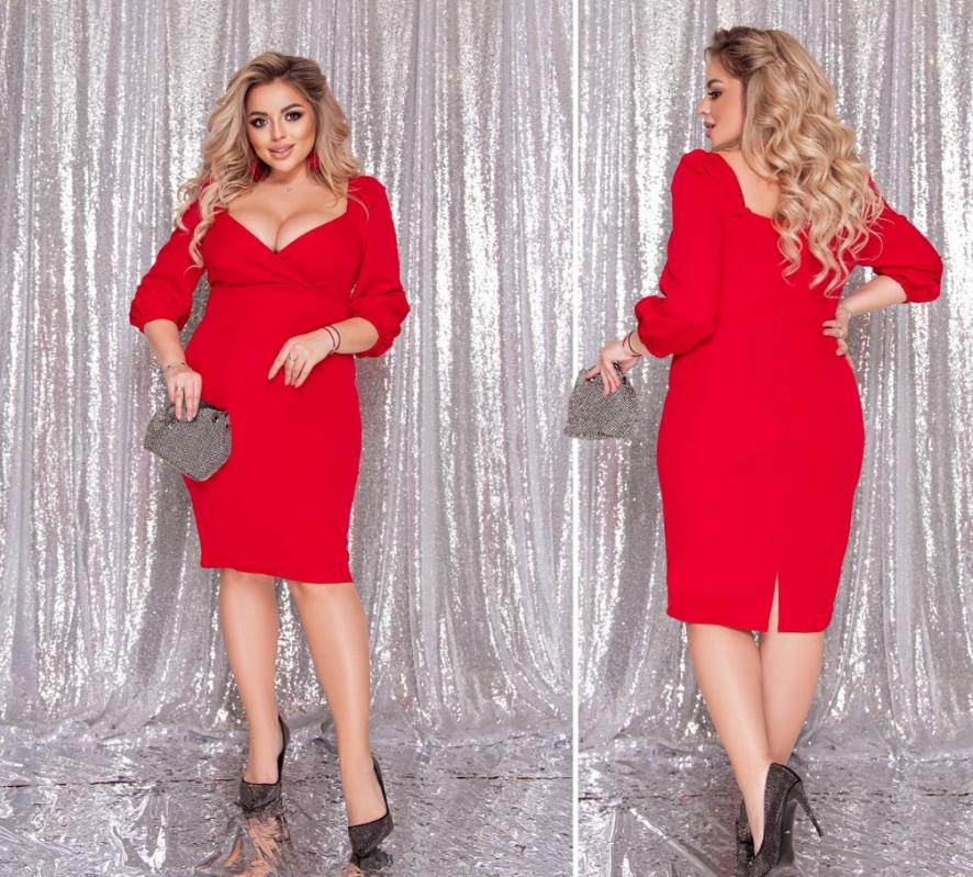 Коктельное платье красного цвета батал Минова Размеры: 48-50, 52-54