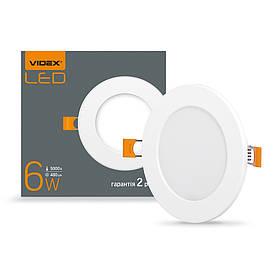 294032 LED світильник VIDEX вбудований круглий 6W 5000K 220V