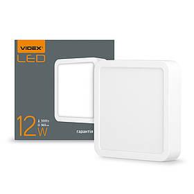294094 LED світильник накладний квадрат Videx 12W  5000K 220V ( VL-DLSS-125)