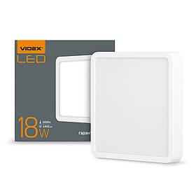 294100 LED світильник VIDEX накладний квадрат 18W 5000K 220V  VL-DLSS-185