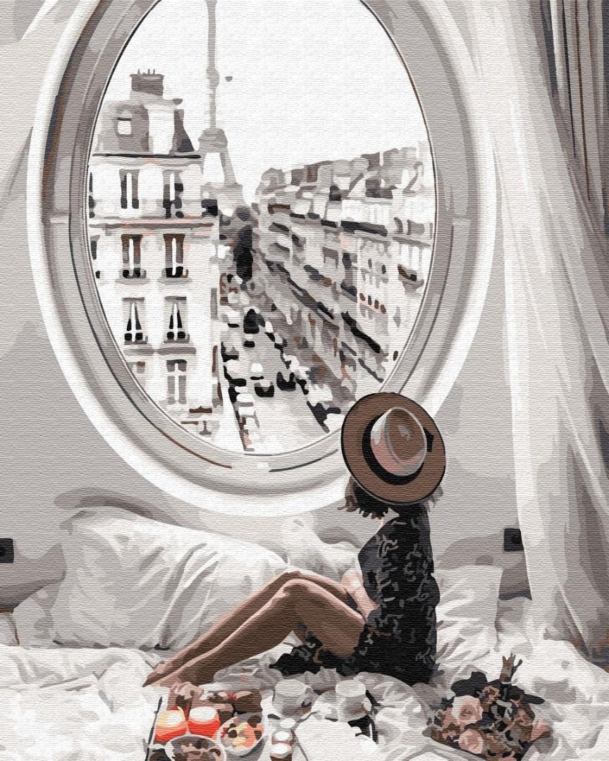 Картина по номерам Девушка утро в Париже 40 х 50 см, BrushMe (GX34175)