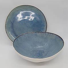 Круглий салатник керамічний професійний посуд для кафе ресторанів і вдома 19,5х6,5 см