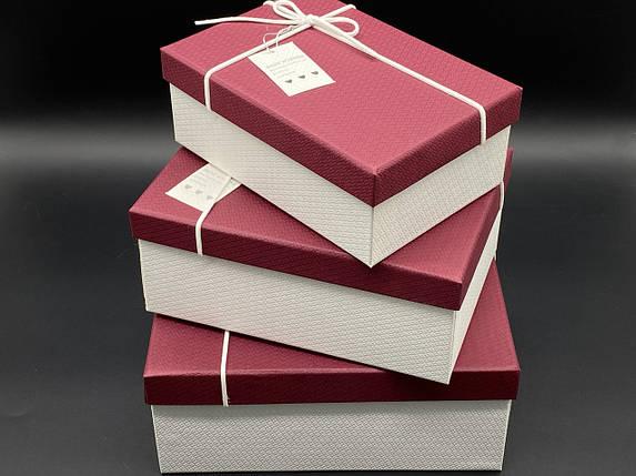 Коробка подарочная. Три шт/комплект. Цвет бордо. 23х16х10см., фото 2