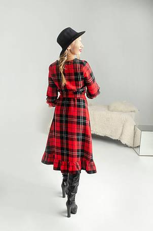 Вовняне червоне плаття в клітку, фото 2