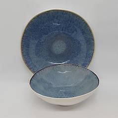 Керамічний салатник синій професійний посуд для кафе ресторанів і вдома 27х7 см