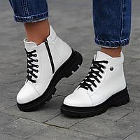 Ботинки женские зимние кожаные белые на толстой подошве (код 6606)