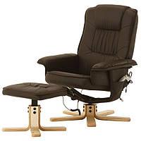 Кресло коричневое для отдыха с массажем + пуф + обогрев, фото 1