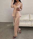 Пижама женская брючная шёлковая стильная синий, пудра, чёрный, бежевый 42-44,46-48,50-52, фото 3